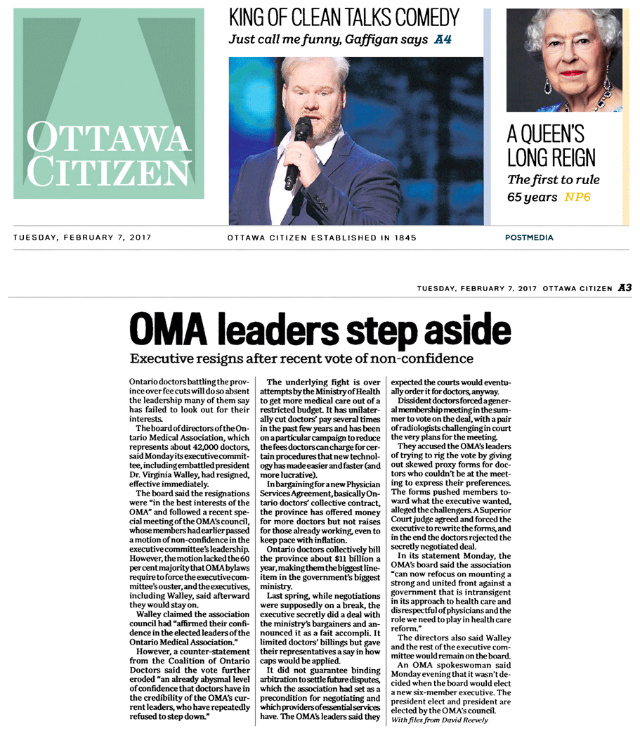 Ottawa Citizen 2017-02-07 - OMA executive committee resigns